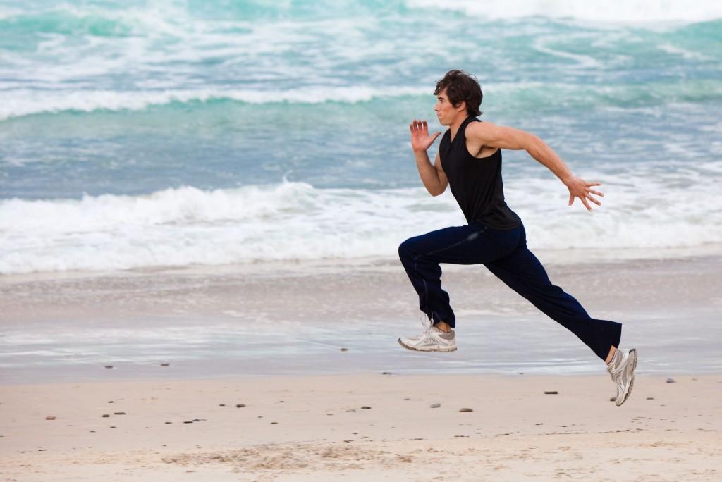 sprinting on beach